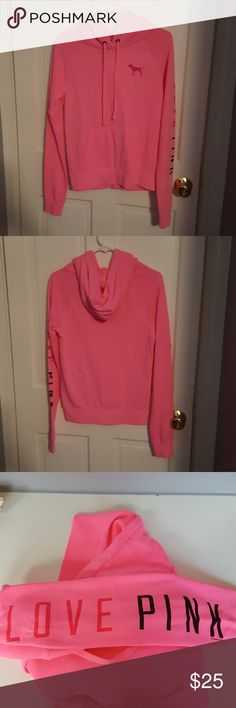 Never Worn Victoria's Secret Pink Sweatshirt Never worn Victoria's Secret Pink sweatshirt with dog logo on front and Love Pink on left sleeve PINK Victoria's Secret Tops Sweatshirts & Hoodies