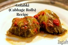 Golabki Recipe - also known as Stuffed Cabbage Rolls - a traditional Polish recipe combining a savory mix of ground beef, ground pork and rice and topped with a sweet and tangy tomato sauce.