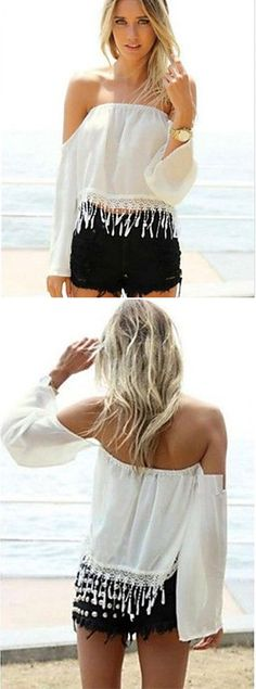 A cute, summer inspired shirt with a bit of fringe.