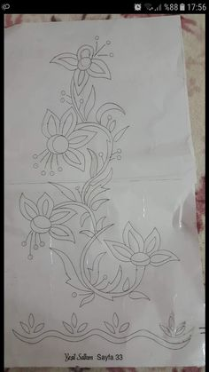 Desen Hand Embroidery Videos, Crewel Embroidery Kits, Embroidery Flowers Pattern, Ribbon Embroidery, Border Embroidery Designs, Quilting Designs, Machine Embroidery Designs, Fabric Paint Designs, Embroidery Patterns