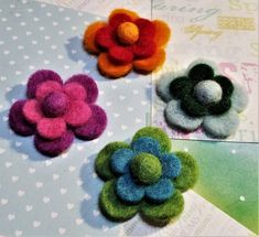 FF-154; Four Colorful Felt 3-Dimensional Flowers That Have Two Sets of Petals and a Cute Ball in the Center Felt Ball, Upcycled Crafts, Christmas Goodies, Little Christmas, Craft Items, Felt Flowers, Pearl White, Purple, Pink