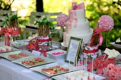 desserts, dessert tables, buffet, sweet tables, weddings, wedding showers, pink, shower idea, bridal showers