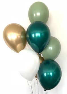 Green and White Balloons Teal Baby Showers, Green Bridal Showers, Green Wedding Decorations, Baby Shower Table Decorations, Bridal Shower Balloons, Wedding Balloons, Dark Teal Weddings, Teal Party, White Balloons