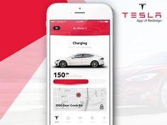 Tesla App UI Redesign designed by Ayoub kada. Car App, App Ui, Design Inspiration, Mobile Ui, Phone, Technology, Telephone, Mobile Phones