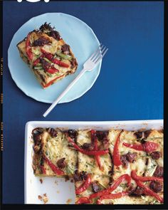 Sausage, Fontina, and Bell Pepper Strata