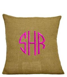 Monogrammed Tan Jute Cushion Cover by EmbroideryByLindaP on Etsy