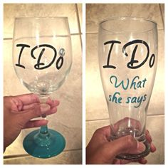 I find your wedding glassware! I Do / I Do What She Says duo hand painted wine / beer glasses by SassySipsByMarissa on Etsy Our Wedding, Wedding Gifts, Dream Wedding, Cruise Wedding, Wedding Ideas, Diy Wine Glasses, Painted Wine Glasses, When I Get Married, Wine And Beer