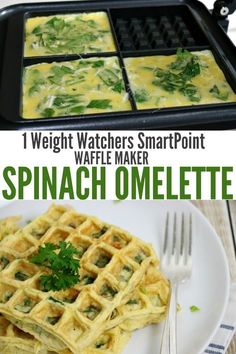 Weight Watchers 1 SmartPoint Spinach Omelette cooked in a Waffle Maker in just 90 seconds. Fast, easy and a perfectly delicious breakfast recipe. Ww Recipes, Popular Recipes, Brunch Recipes, Cooking Recipes, Healthy Recipes, Spinach Omelette, Omelette Recipe, Waffle Maker Recipes, Eggs In Waffle Maker