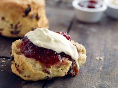 Homemade scones with jam and cream photographed for the Farm Cafe in Woodbridge