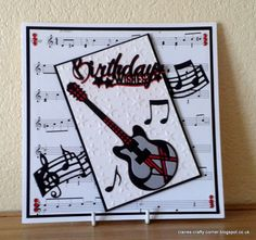 Made by Claire Basinger - Birthday card made for someone who plays guitar, made using the Rococo music dies and a miniature moments sentiment.
