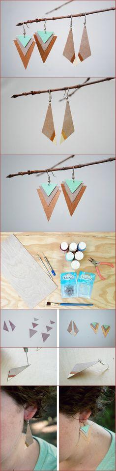 DIY wood earrings