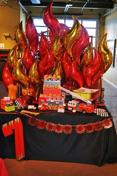 These awesome Fireman Birthday Party Ideas will surely sound the alarm! Get ideas for birthday cakes, favors, games, party supplies, decoration and more! Fireman Party, Firefighter Birthday, Fireman Sam, Birthday Party Table Decorations, Birthday Party Tables, Decoration Table, Deco Table, Fire Trucks, Sixteenth Birthday