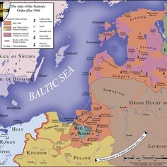 State of the Teutonic Order-In the 13th century, German crusaders launched attacks against various pagan peoples along the Baltic coast. Gradually the Order of the Teutonic Knights established their own state over the lands they were able to conquer, but after their loss to Poland-Lithuania at the Battle of Grunwald in 1410 their state went into decline and was gradually portioned off to other kingdoms and states.