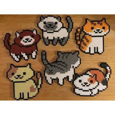 Neko Atsume perler beads by perfectlyperled Perler Bead Designs, Perler Bead Templates, Hama Beads Design, Diy Perler Beads, Perler Bead Art, Melty Bead Patterns, Pearler Bead Patterns, Perler Patterns, Beading Patterns