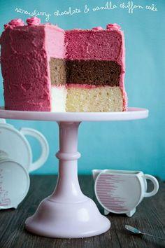 Triple Decker Neapolitan Chiffon Cake!