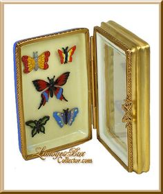 Butterfly Collection in Framed Case Limoges Box Cute Box, Pretty Box, Jewelry Dresser, Bottle Box, Antique Boxes, Pill Boxes, Tiny Treasures, Little Boxes, Yellow Roses