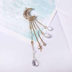 Moon Charm Hairclip - Vintage Women Crystal Rhinestone Moon Tassel Drop Hair Pin Clip Gift Headdress