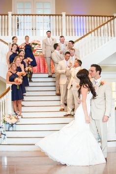 {Navy & Coral} Kendall Plantation Wedding|Photographer:  Jennifer Weems Photography