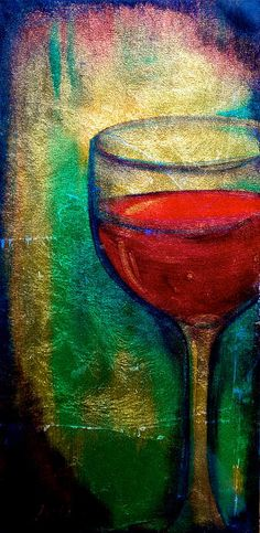 Title:  One More Glass   Artist:  Debi Pople   Medium:  Painting - Mixed Media On Wood