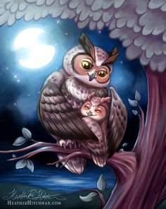 An adorable mother and child owl commission for an Etsy client. They may or may not use it for a tattoo in future. Digitally painted in Photoshop CS5 MORE OWLS FRIEND ME ON FACEBOOK FOR DAIL...
