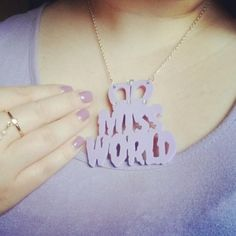 Lauren in acrylic perspex laser cut Miss World necklace