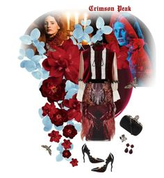 """Indulge Your Dark Side with Crimson Peak : Contest Entry"" by ladyanita ❤ liked on Polyvore featuring RGB Cosmetics, Alexander McQueen, Roberto Cavalli, Larkspur & Hawk, Rodarte, Gucci, Liljebergs, vintage and CrimsonPeak"