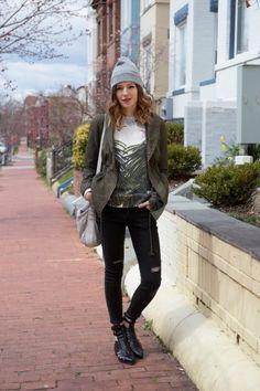 Masha Reva sweatshirt, Jovonnista jeans, ANTHOM sandals, thrifted jacket and bag, and BDG beanie.