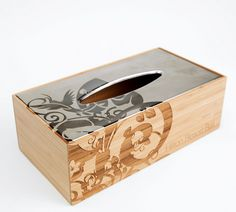 laser engraved wood and metal tissue box