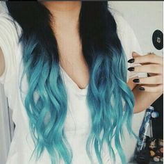 22 Ideas hair color blue dip dye ombre for 2019 Blue Ombre Hair, Ombre Hair Color, Blue Dip Dye Hair, Blue Tips Hair, Cute Hair Colors, Cool Hair Color, Dye My Hair, Scene Hair, Gorgeous Hair