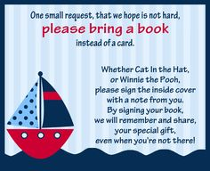 This Nautical Bring a Book Insert encourages guests to bring books to your baby shower. Imagine a boy baby shower with this fun and classic blue striped nautical themed book insert featuring a red sailboat.