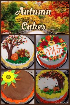Autumn Themed Cakes Fall Theme Cakes, Fall Cakes, Themed Cakes, Thanksgiving Cakes, Thanksgiving Celebration, Sheet Cake Designs, Cute Birthday Cakes, Spring Cake, Fall Dishes