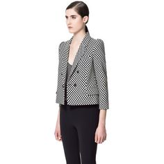 Zara Chequered Jacquard Blazer ($100) found on Polyvore