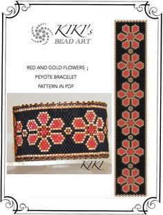 Red and gold flowers peyote bracelet pattern in PDF instant download