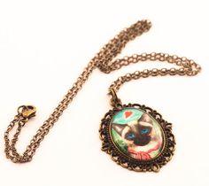 cat necklace cat jewelry cameo necklace shabby chic by dauz,