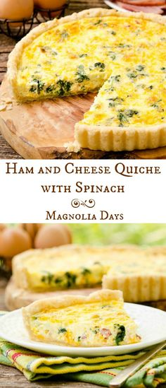 Ham and Cheese Quiche with Spinach has a buttery and flaky homemade ...