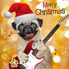 Pug Guitar Rocker Christmas Card 3D Goggly Moving Eyes, Funny Pug Dog Xmas Card