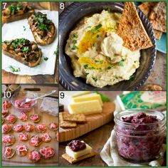 25-tapas-recipes mushroom toasts, roasted arlic hummus, home-made black olive tapenade, maple pickled onions