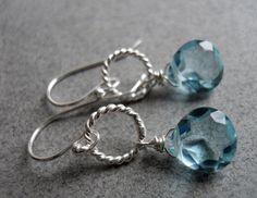 Aquamarine earrings, Just a Schpritz of Aqua Single Drop Earrings, quartz earrings, hoop earrings on Etsy, $28.00