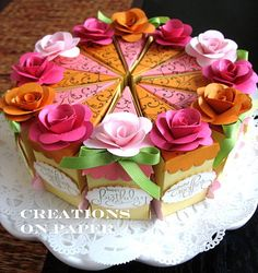Creations on Paper: Cake Slice Box - Happy Birthday to my Sister Cricut Cake, Cake Slice Boxes, Box Cake, Cake Slices, Tooth Box, Paper Cake, Happy Birthday Me, Paper Flowers, Cupcake Cakes