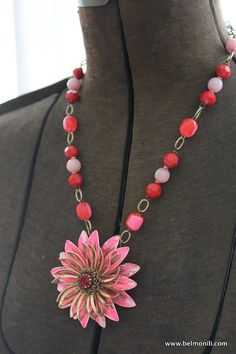 Pink & Red Assemblage Necklace Antique Flower by belmonili on Etsy, $36.00