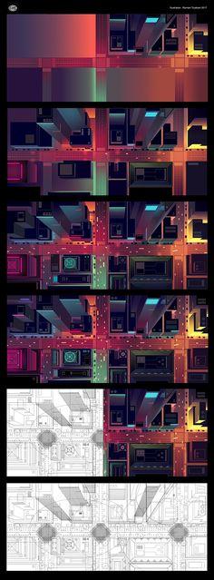 Romain Trystram's cityscape illustration breakdown