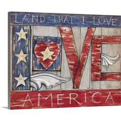Greatbigcanvas Patriotic Love By Susan Winget Flag Painting, Acrylic Painting Canvas, Abstract Canvas, Abstract Print, Rock Painting, Canvas Art, Art Print, Americana Crafts, Patriotic Crafts