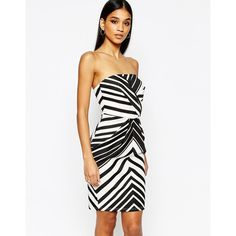 Lipsy Mono Stripe Bandeau Pencil Dress (€49) ❤ liked on Polyvore featuring dresses, multi, tall dresses, bandeau bodycon dress, white pencil dress, body con dress and lipsy dresses