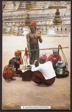 Burma Myanmar Vintage Ethnic Postcard - Burmese Traveling Restaurant