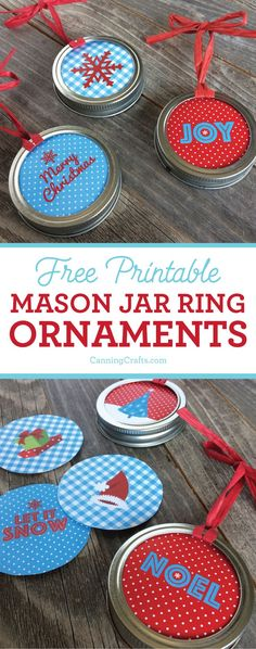 Mason Jar Ring Christmas Ornaments are a perfect gift for canners. DIY Christmas ornaments are a great way to repurpose old mason jar canning rings. CanningCrafts.com Christmas Gift Decorations, Christmas Crafts For Kids, Diy Christmas Ornaments, How To Make Ornaments, Holiday Decorating, Christmas Stuff, Easter Crafts, Holiday Crafts, Christmas Ideas