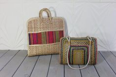 Pair of STRAW Woven Rattan Colorful Stripe Pink by keepdrawer