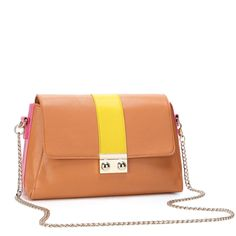 Brown Tri-Color Stripped Shoulder Bag