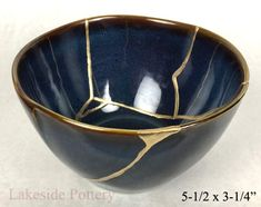 Kintsugi art blue bowl