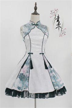 Lotus Flower Cheongsam Qi Lolita Dress Lolita Goth, Gothic Lolita Dress, Gothic Lolita Fashion, Lolita Style, Medieval Clothing, Medieval Outfits, Girls Frock Design, Cute Fashion, Fashion Ideas