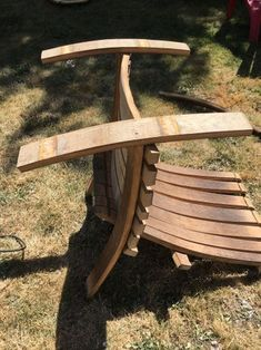 Wine Barrel Adirondack Chair: 10 Steps (with Pictures) Lawn Furniture, Furniture Plans, Rustic Furniture, Handmade Furniture, Furniture Design, Modern Furniture, Outdoor Furniture, Wine Barrel Chairs, Whiskey Barrel Furniture